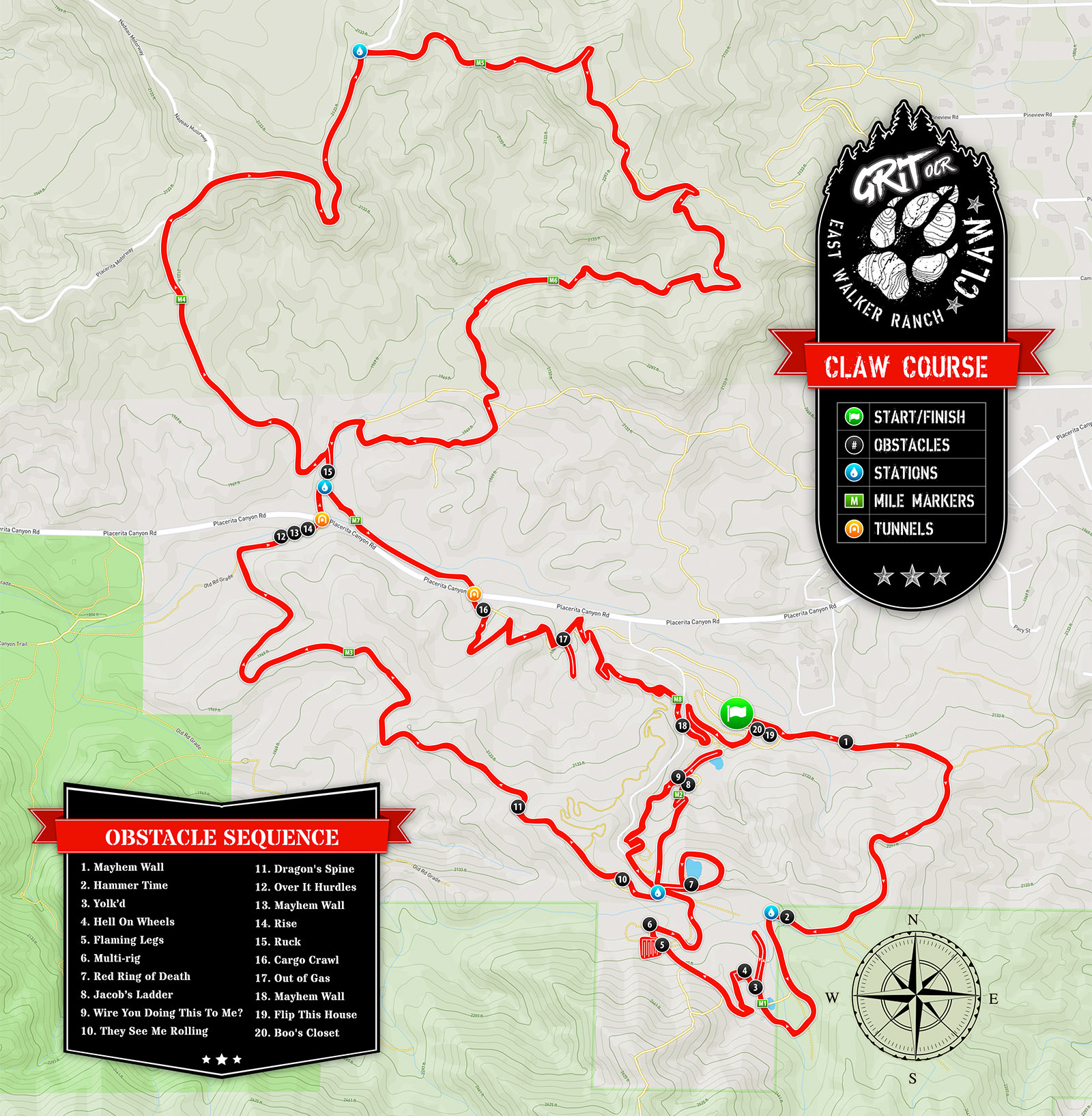 2021 Grit OCR Claw Course Map
